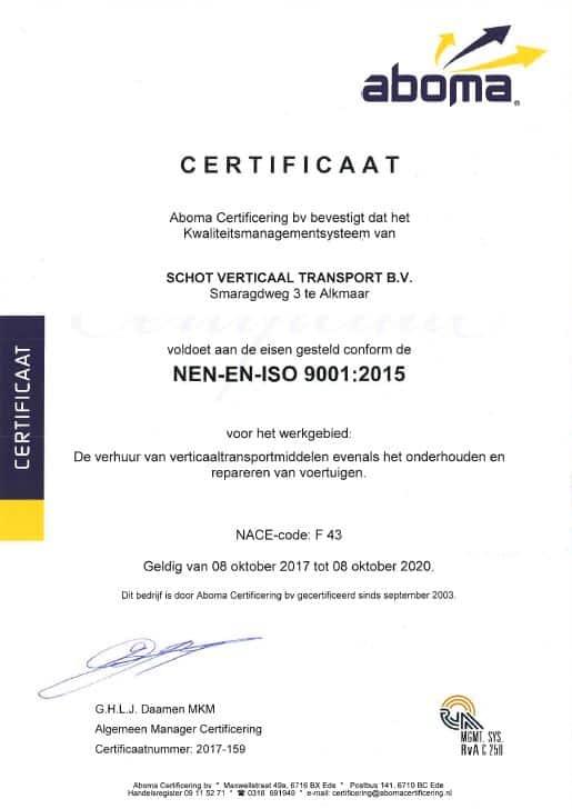 Schot Verticaal Transport ISO9001